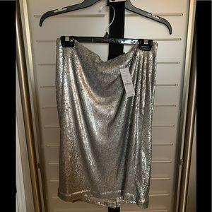 Whitehouse Blackmarket Silver Sequin Skirt